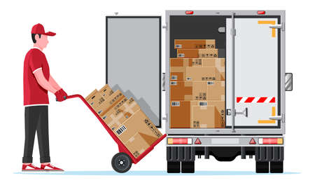 Delivery Van Full of Cardboard Boxes Isolated Vecteurs
