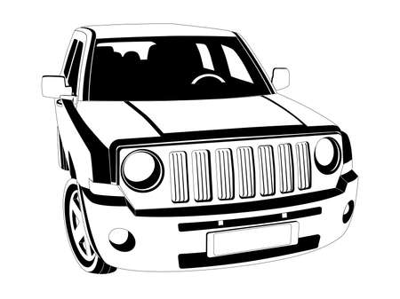 offroad: Vector black and white image of SUV car on white background. Illustration