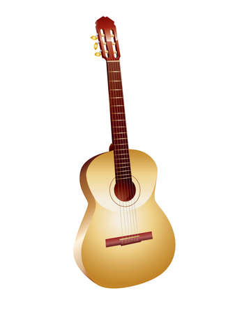 Vector image of guitar yellow colour on white background. Vector