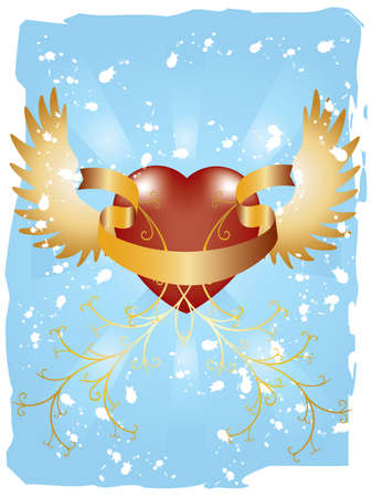 lovestruck: Vector image of pattern with heart and ribbon on blue background with grunge elements. Illustration