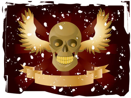 Vector image of skull with wings and ribbon on dark red background.