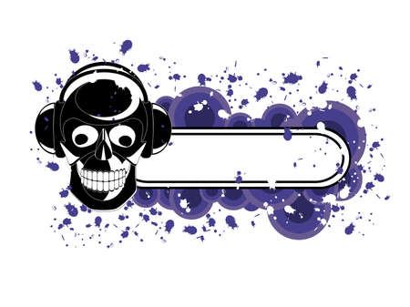 Vector image of skull with headphones and banner for sample text. Vector