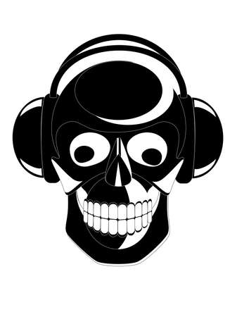 Vector black and white image of skull with headphones Vector
