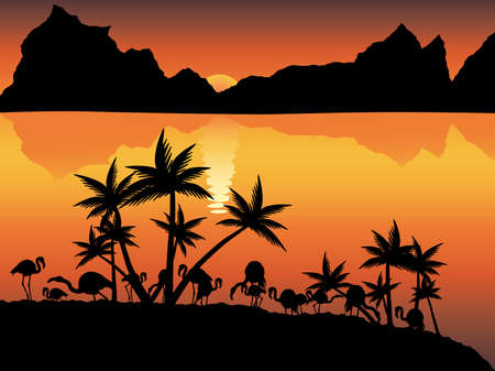 moutains: Vector image of decline with flamingo, moutains, ocean and palm trees.