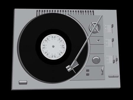 Vector image of a vinyl DJs deck grey colour on black background. Vector
