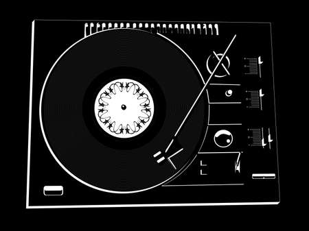 dj turntable: Vector image of a vinyl DJs deck black colour on black background. Illustration