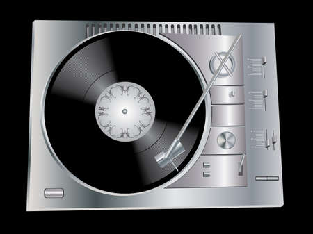 The image of a vinyl DJs deck grey colour on black background. Vector