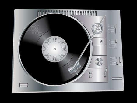 grooves: The image of a vinyl DJs deck grey colour on black background.