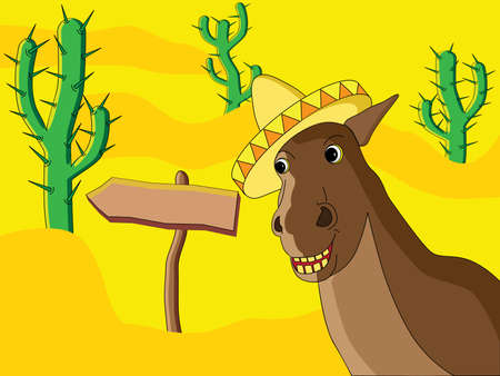 Vector image of mexican horse in a desert. Vector