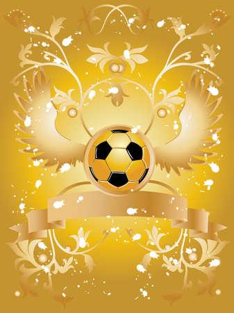 Vector de imagen de pelota de f�tbol con alas, para cinta muestra el texto y patr�n floral.  Foto de archivo - 3132301