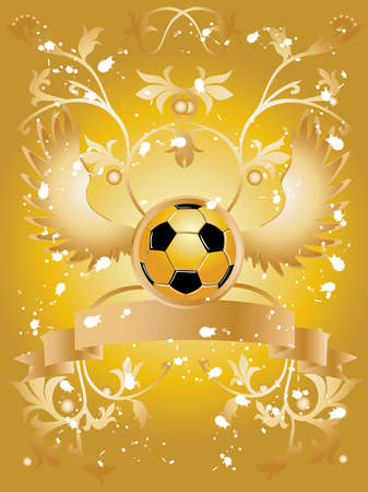 Vector image of soccer ball with wings, ribbon for sample text and  floral pattern. Stock Vector - 3132301