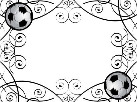 Vector frame with soccer balls.