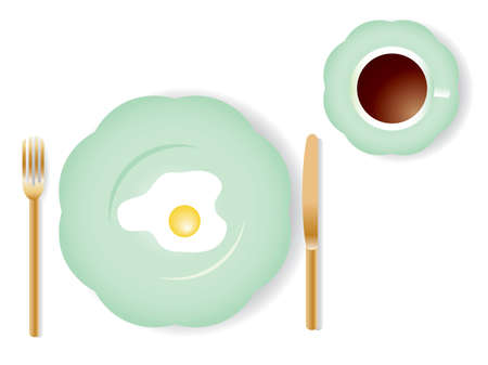 Vector image of breakfast  with omelet and a cup of coffee. Vector