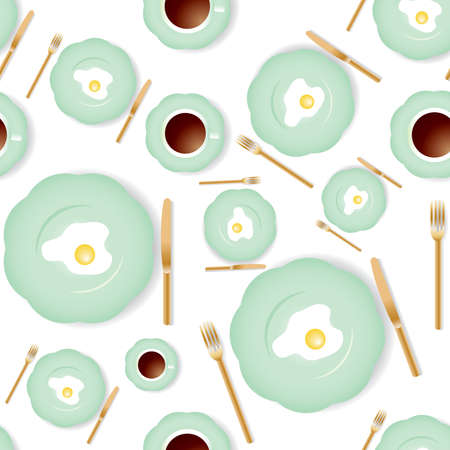 Vector seamless breakfast pattern with omelet and a cup of coffee. Stock Vector - 3248431