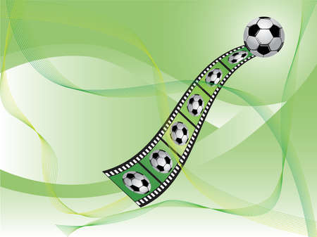 Vector abstract background with soccer ball and video tape.