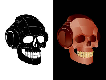 Vector  image of skull with headphones. Vector