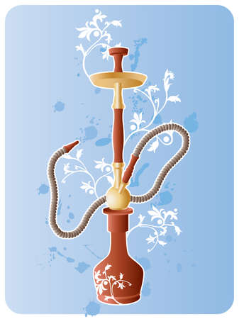 hookah: Vector image of hookah with floral pattern and grunge elements.