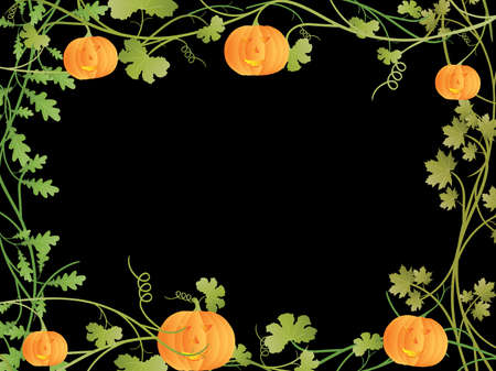 Vector image of floral frame with halloween pumpkin. Vector