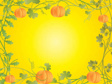 Vector floral frame with pumpkin on yellow background. Vector
