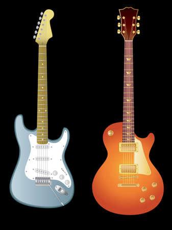 frets: Vector de la imagen aislada de las guitarras el�ctricas sobre fondo negro. Vectores