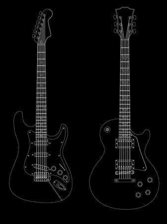 frets: Vector imagen aislado de guitarras el�ctricas sobre fondo negro.