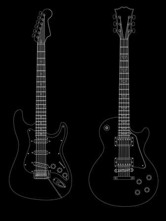 Vector isolated image of electric guitars on black background. Vector