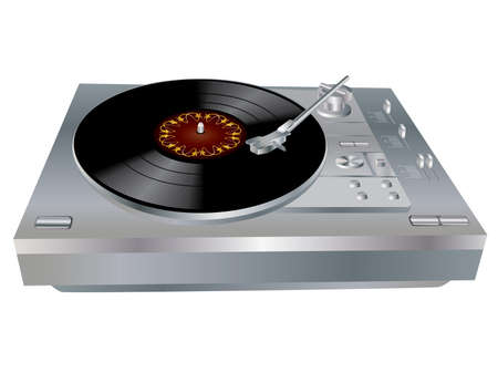 The image of a vinyl DJs deck grey colour on white background. Vector