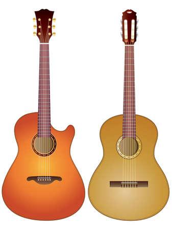 Vector geïsoleerd beeld van akoestische gitaren op een witte achtergrond.