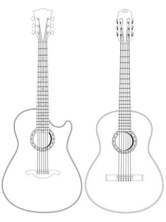 frets: Vector de la imagen aislada de guitarras ac�sticas sobre fondo blanco.