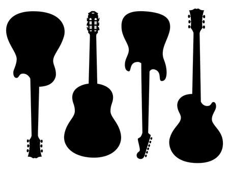 Vector isolated silhouettes of electric and acoustic guitars on white background.