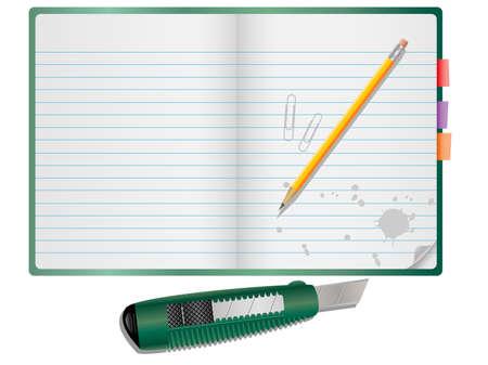 box cutter: Vector de notas con l�piz, papel y clips de cuchillo.