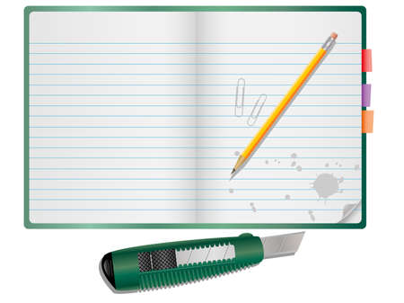 Vector notepad with pencil, paper clips and Knife. Illustration