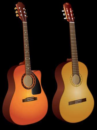 nylon: Vector isolated image of acoustic guitars on black background. Illustration