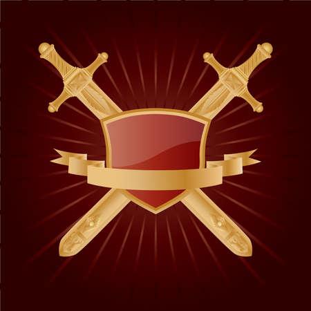 Vector heraldic pattern on dark red background. Vector
