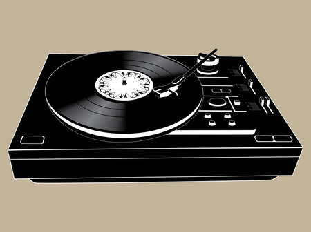 Vector image of a isolated vinyl DJs deck. Vector