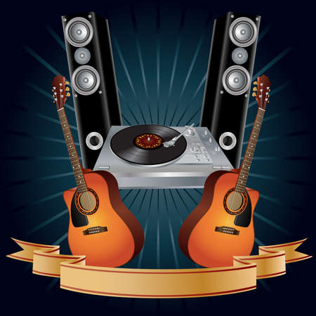 Vector background with guitars, turntable and speakers. Vector