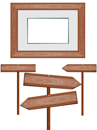 Vector image of wooden signs and picture frame. Vector