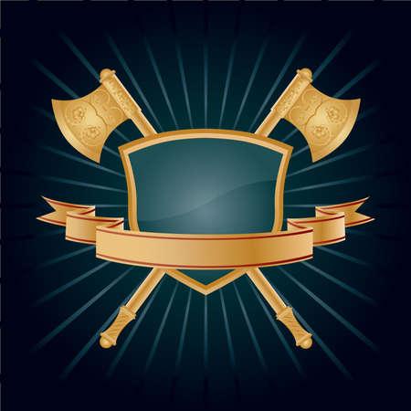 axe: Vector heraldic pattern on dark blue background.