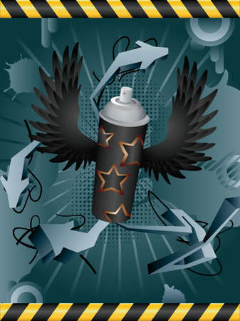 propellant: Vector abstract grunge background with spray can. Illustration