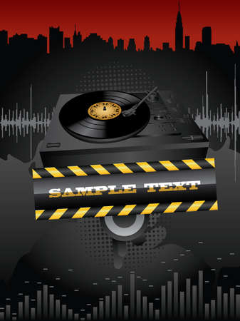 Vector grunge background with turntable and banner. Vector