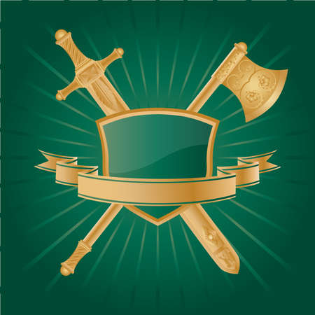 Vector heraldic pattern on dark green background. Vector
