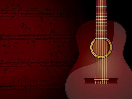 Vector background with acoustic guitar and musical notes.