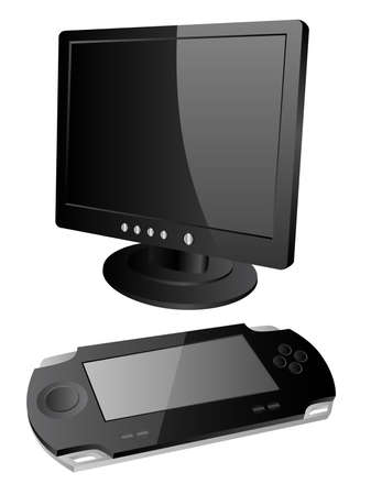 playstation: Vector icons of the monitor and video game console. Illustration