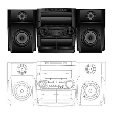 Vector isolated image of boombox. Vector
