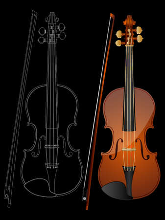 geigen: Vector Image einer Violine isoliert auf schwarzem Hintergrund.