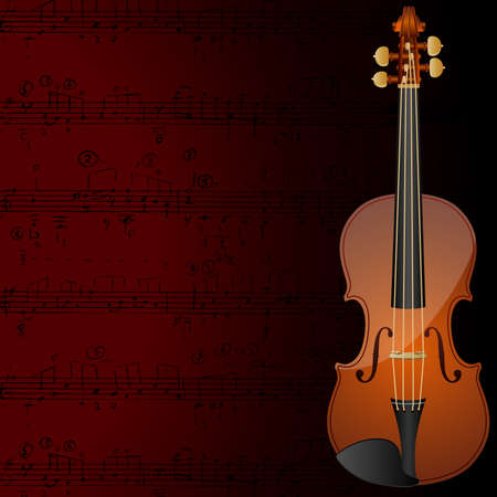Vector background with a violin and musical notes. Illustration