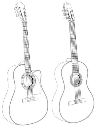 Vector isolated image of acoustic guitars on white background. Illustration
