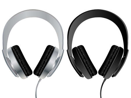 Vector image of headphones isolated on white. Vector