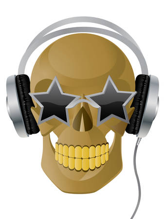 audio electronics: Vector illustration of skull with earphones and glasses. Illustration