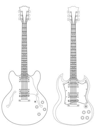 Vector isolated image of electric guitars on white background. Stock Vector - 4920294